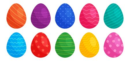 Easter eggs with different colors and patterns isolated on white background. Vector illustration 向量圖像