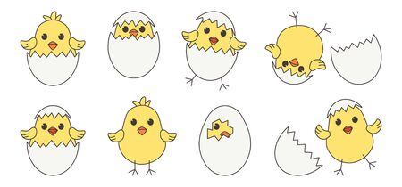 Easter baby chickens, cartoon eggs chick and shell isolated on white background. Vector illustration 向量圖像