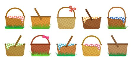 Easter or picnic baskets, set of straw baskets on the grass and with colorful checkered tablecloth. Vector illustration