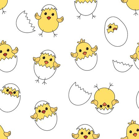 Easter seamless pattern with eggs chick and shells, yellow baby chickens isolated on white background. Vector illustration