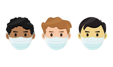 Medical mask. Virus protection. Asian, European and African American in face mask. Vector illustration