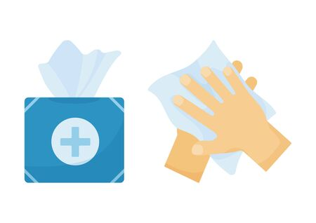 Wipe clean hand. Disinfection. Hygiene. Vector illustration