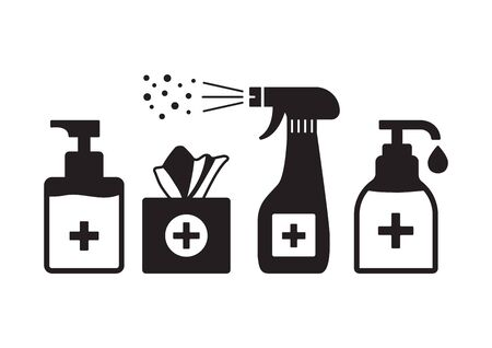 Disinfection. Hygiene. Hand sanitizer bottles, washing gel, spray, wet wipes, liquid soap, napkins. Vector illustration