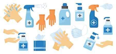 Disinfection. Hand hygiene. Set of hand sanitizer bottles, face medical mask, washing gel, spray, wet wipes, liquid soap, rubber gloves, napkins. Vector illustration Ilustração