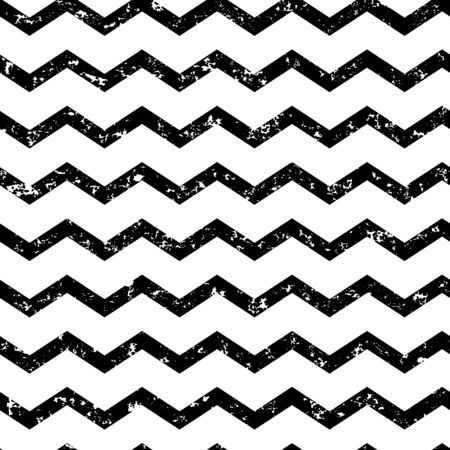 Zig zag grunge seamless pattern, chevron waves striped retro background. Black and white design. Vector illustration