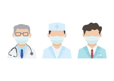Disinfection of doctors. Face masks, medical workers. Virus protection. Vector illustration Ilustração