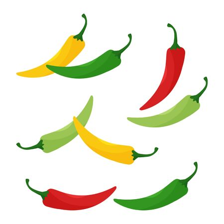 Hot chili peppers, jalapeno vegetables, cayenne pepper red, green, yellow colors isolated on white background. Vector illustration Ilustração