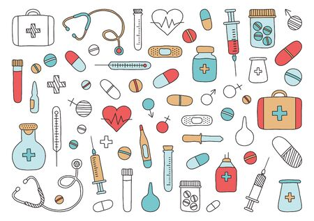 Mobile medicine, medical research. Hand drawn icons. Vector illustration