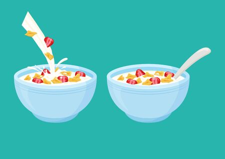 Cereal flake milk breakfast. Bowl rolled oats with strawberry. Vector illustration