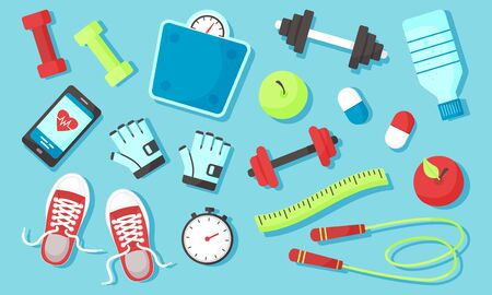 Fitness equipments Sport accessories Gym things Stufff for training. Top view. Diet and healthy lifestyle. Vector illustration Ilustração