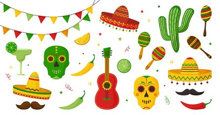 Cinco de Mayo celebration in Mexico icon set, collection design elements. Guitar, martini, maraca, peppers, mustache, skulls, citrus, sombrero, tequila, cactus and decoration. Vector illustration
