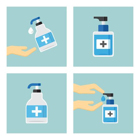 Disinfection. Hand hygiene. Set of hand sanitizer bottles, washing gel, liquid soap. Vector illustration