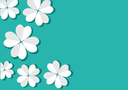 Paper white flowers on turquoise background. Space for your text. Vector illustration