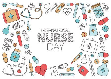 Greeting card for International Nurse Day. Medicine banner. Vector illustration Ilustracje wektorowe