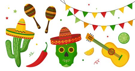 Cinco de Mayo celebration in Mexico icon set, collection design elements. Guitar, maraca, pepper, skulls, citrus fruits, sombrero, cactus and decoration. Vector illustration
