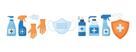 Disinfection. Virus prevention icons. Face medical mask, gloves, hand sanitizer bottles. Medical insurance. Vector illustration Ilustração