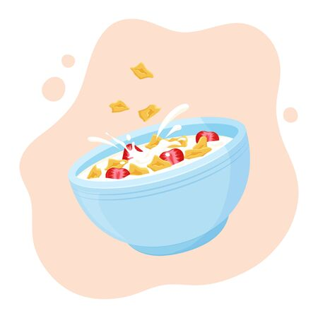 Cereal flake milk breakfast. Ceramic bowl rolled oats with strawberry. Healthy food for kids. Vector illustration Çizim