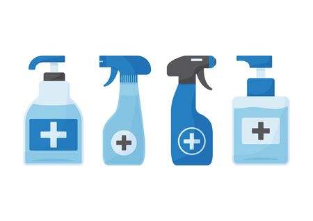 Disinfection. Hygiene. Hand sanitizer bottles, antiseptic, washing gel, spray, liquid soap. Vector illustration