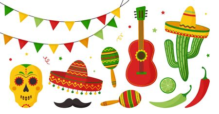 Cinco de Mayo celebration in Mexico icon set, collection design elements. Guitar, maracas, peppers, skull, mustache, citrus fruits, sombrero, cactus and decoration. Vector illustration Ilustração