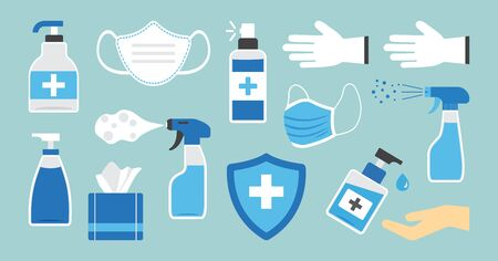 Disinfection. Hand hygiene. Set of hand sanitizer bottles, washing gel, spray, wipes, liquid soap, gloves. PPE personal protective equipment. Vector illustration Foto de archivo - 145832544