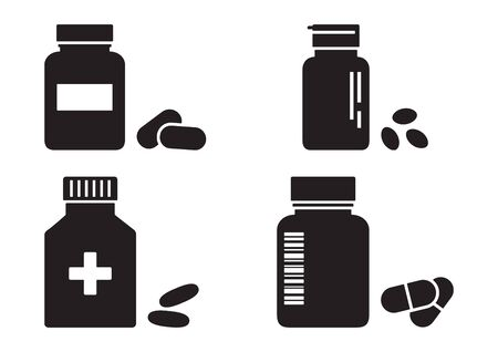 Bottles of pills or vitamins, pharmacy concept, medicine black icons. Vector illustration