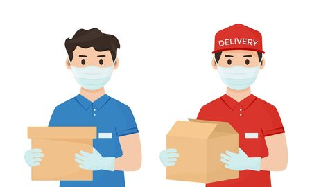 Safe goods delivery. Coronavirus protection and prevention. Couriers in face medical mask with a boxes in hands. Vector illustration Ilustração