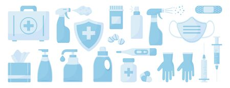 Medicine set. Disinfectant, hand sanitizer bottles, medical mask, antibacterial spray, gel, wipes, soap, gloves, syringe, first aid kit, pills, bandage, thermometer, medical insurance. Vector