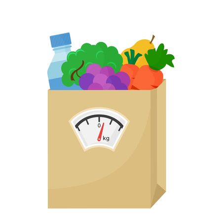 Balanced diet. Healthy nutrition. Fresh vegetables, fruits and bottle water. Paper bag of food with weighing scale. Vector illustration Ilustração