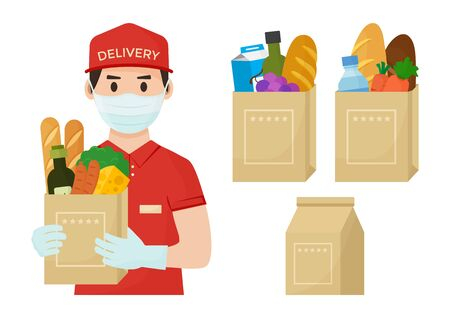 Safe foods delivery. Coronavirus protection and prevention. Courier in face medical mask and gloves with full grocery bag in hands. Vector illustration Ilustração