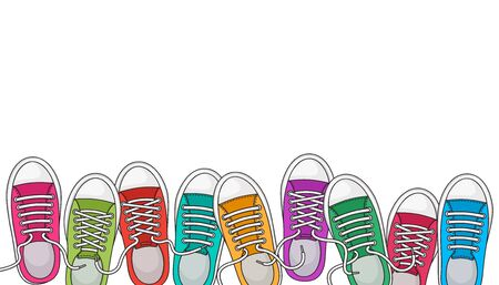 Trendy sports background with colorful sneakers, foot wear. Top view. Space for your text. Vector illustration Ilustração