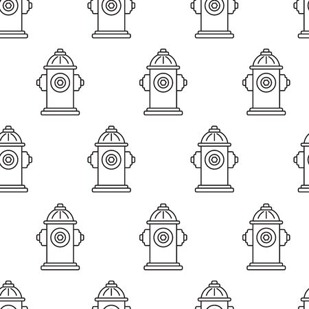 Abstract geometric seamless pattern with hydrants, black and white line art. Vector illustration