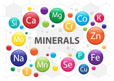 Mineral supplement set. 3d multivitamin complex for health. Vitamin icons. Calcium Magnesium Zinc Iron Iodine Manganese Cobalt Copper Potassium Molybdenite Chromium Silicon Selenium. Vector illustration