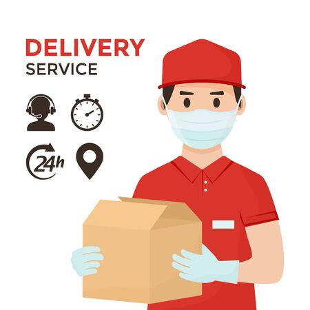 Delivery service icons. Safe goods delivery. Coronavirus protection and prevention. Courier in face medical mask and gloves with boxes in hands. Vector illustration
