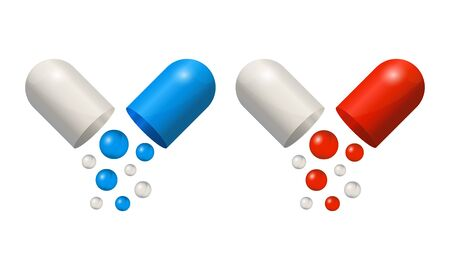 Capsule icons 3d realistic, blue and red pills isolated on white background. Colored small balls falling of open medical capsules. Vector illustration