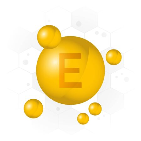 Vitamin E icon. Golden bubble on hexagon background. Vector illustration