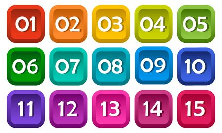 Numbers from one to fifteen, square buttons. Colorful rainbow set. Vector illustration