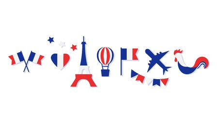 France collection. Blue, white and red national colors. Flags, heart, stars, Eiffel Tower, balloon, airplane, cock. Vector illustration