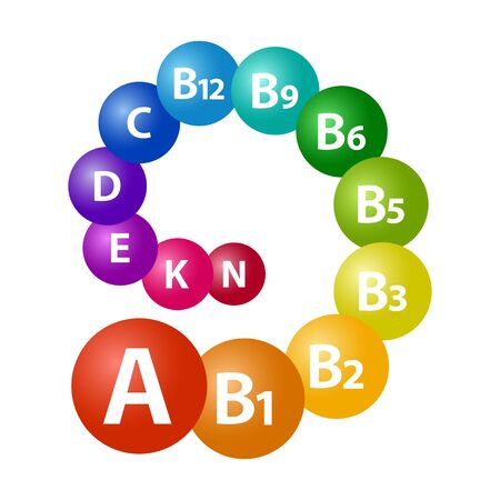 Vitamine set. Multivitamin complex for health A, B1, B2, B3, B5, B6, B9, B12, C, D, E, K, N. Rainbow swirl. Colorful 3d spheres. Vector illustration
