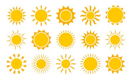 Sun icons, summer set. Yellow and orange colors, different shapes. Vector collection