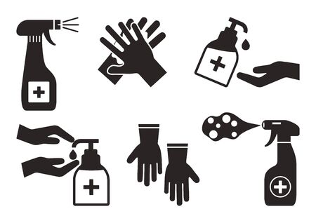 Disinfection. Hand hygiene. Set of hand sanitizer bottles, washing gel, spray, liquid soap, rubber gloves. Black icons. PPE personal protective equipment. Vector illustration Ilustração