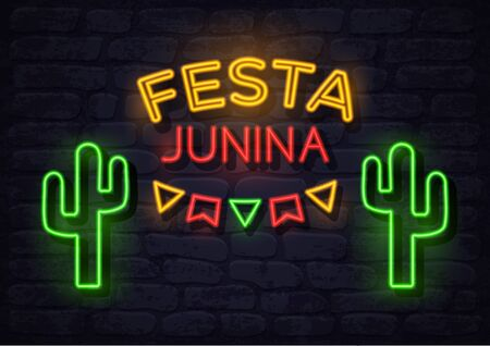 Festa Junina Brazil june festival neon holiday banner, glow greeting card. Fertility festival in Latin America. Vector illustration