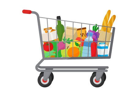 Grocery purchase. Shopping trolley cart full products. Foods and drinks, vegetables and fruits. Vector illustration