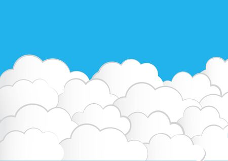 White heaven. Clouds on blue sky background. Vector illustration