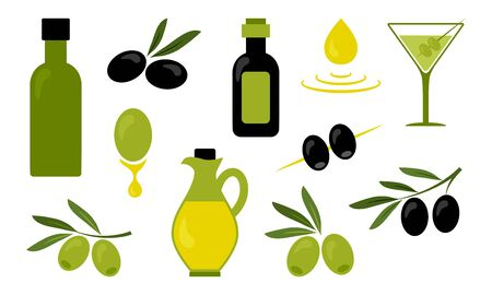 Olive oil, black and green branch olives, glass of martini, jug and bottles with oil isolated on white background. Vector illustration