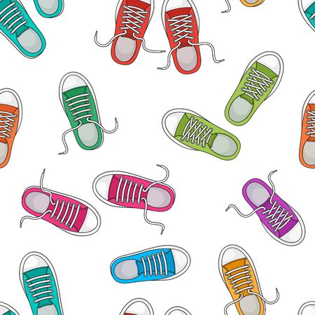 Seamless pattern with colorful sneakers, trendy sports background, foot wear. Top view. Vector illustration