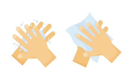 Hygiene. Wash hands with soap and wipe with towel. Vector illustration