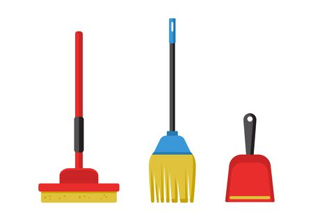 Cleaning kit. Cleanup garbage and dust, wash floors. Vector illustration