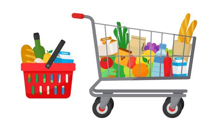 Grocery purchase set. Shopping basket and trolley with products. Foods and drinks, vegetables and fruits. Vector illustration Stock Illustratie