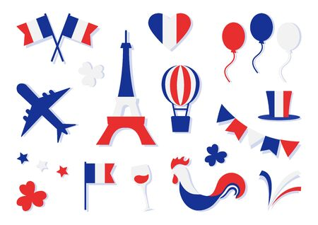 France collection. Bastille day. Blue, white and red national colors. Flags, heart, stars, Eiffel Tower, hat, clovers, glass of wine, balloon, airplane, cock, firework. Vector illustration