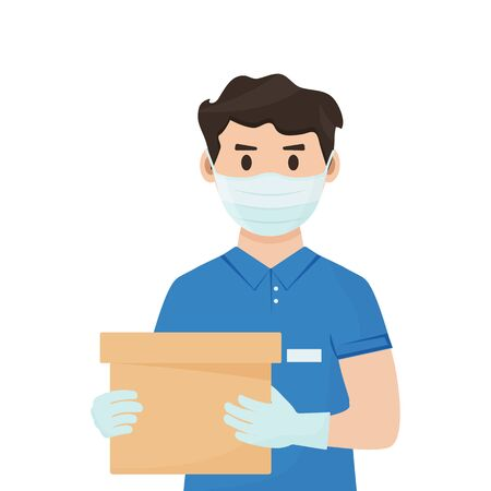 Safe goods delivery. Coronavirus protection and prevention. Courier in face medical mask and gloves with box in hands. Vector illustration Stock Illustratie